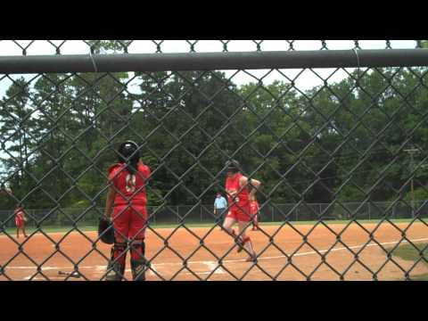 Caroline Owens Slugging a Double in Softball Alexander Graham Middle School Charlotte, NC