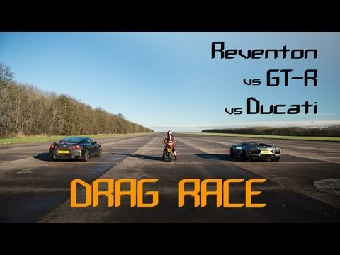 DRAG RACE - Lamborghini REVENTON Roadster vs Nissan GT-R vs Ducati -  The BHP Project