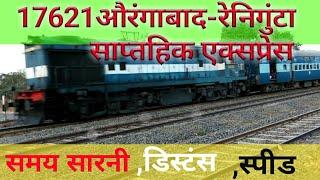#Aurangabad Reniguta Express Weekly 17621 Route Map INDIAN RAILWAYS