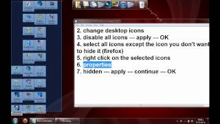 how to hide certain icons or all icons on desktop in windows 7 with out using any programs