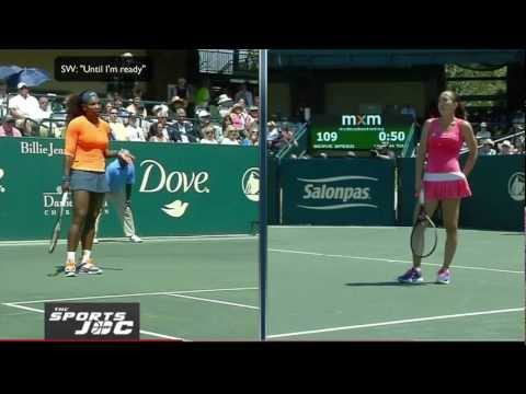 Serena Williams arguing with Jealana Jankovic