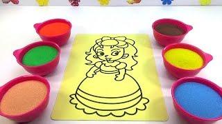 Nhạc Thiếu Nhi-  Đồ Chơi Trẻ Em TÔ MÀU TRANH CÁT CÔNG CHÚA Colored Sand Painting