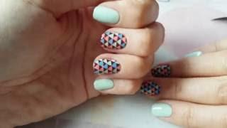Геометрический маникюр с акриловой пластиной для стемпинга - Nail Stamping, Geometric mani