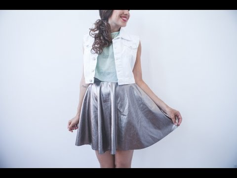 DIY easy metallic circular skirt - skater skirt tutorial