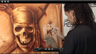 Airbrushing Monochromatic Pirate on Canvas w/ Cory Saint Clair
