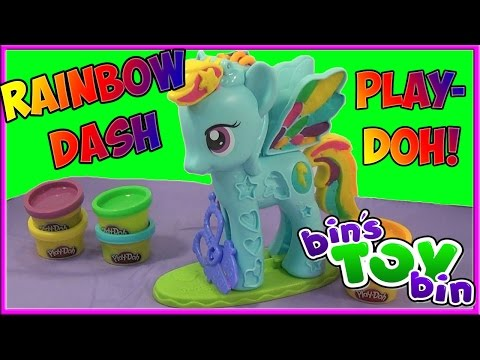 Rainbow Dash Play-doh Style Salon My Little Pony Playset! Review By Bin's Toy Bin video