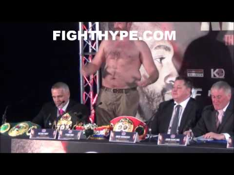 """TYSON FURY RIPS OFF SHIRT, SHOWS OFF BELLY FAT, AND TELLS KLITSCHKO: """"YOU LET A FAT MAN BEAT YOU"""""""