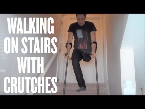Amputee Advice - How to walk on stairs with crutches