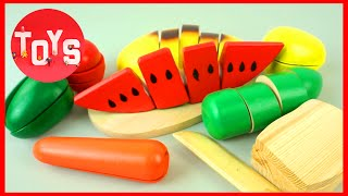 Learn Names of Fruits and Vegetables with Toy Velcro Cutting Fruits and Vegetables Toy Playset