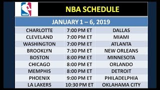 NBA Schedule on January 1-6, 2019