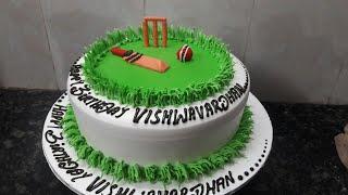 Cricket ground Birthday cake making by New Cake Wala