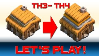 Let's Play Clash of Clans - Town Hall 3 upgrades going to TOWN HALL 4!! walls