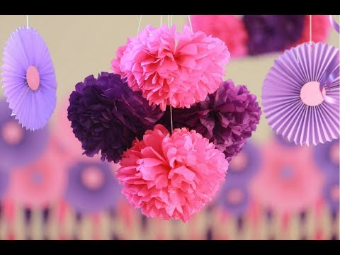 "how to make party decorations with tissue paper Diy party decor ideas – part 2 then the cheapskate in me kicks in and says ""no way am i paying $5 for one tissue paper fan need ideas for party food."
