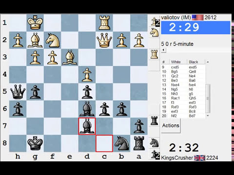 Chess World.net: LIVE Blitz #1852 vs valiotov (IM Rank #7) 2612 - Queen's pawn game (D02)