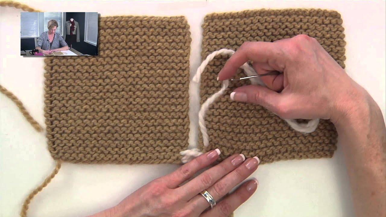 Knitting Joining Seams Garter Stitch : Knitting Help - Seaming Garter Stitch - YouTube
