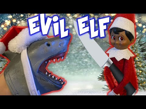 SHARK PUPPET AND THE EVIL ELF ON THE SHELF!!