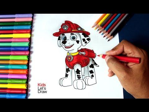 Cómo dibujar a MARSHALL de La Patrulla Canina | How to draw Paw Patrol Marshall
