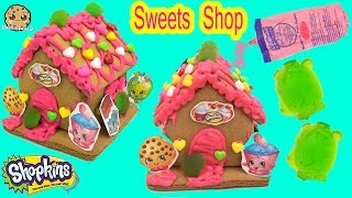 Shopkins GINGERBREAD HOUSE KIT Frosting Gummy Candy Food Craft Playset - Cookieswirlc Video