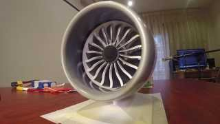 GE GEnx-1B 3D Printed B787 Jet Engine Model with Thrust Reverser