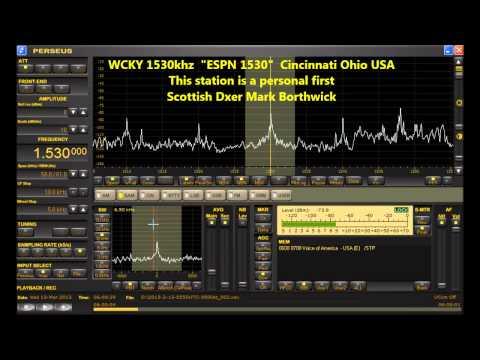 """MW DXing WCKY 1530 """"ESPN 1530"""" Ohio USA Received in Scotland with Perseus SDR and Super KAZ antenna"""