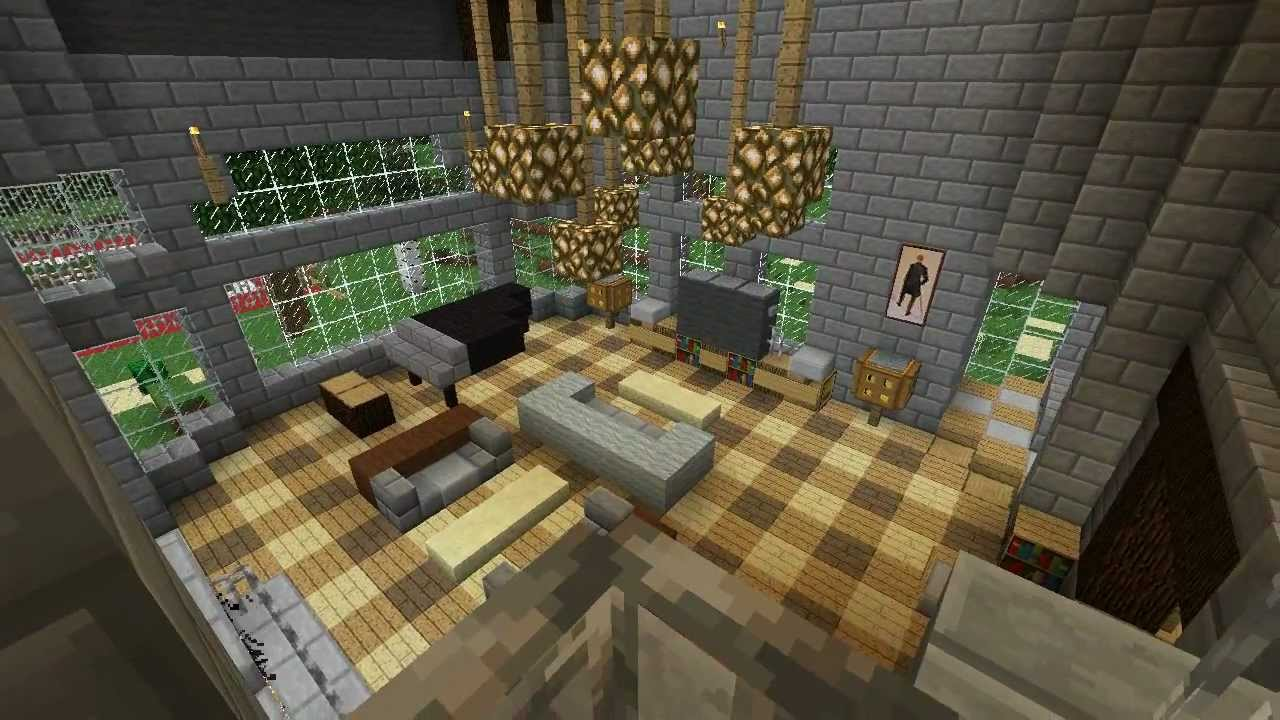 Minecraft furniture guided mansion tour part 3 youtube for Minecraft house interior living room