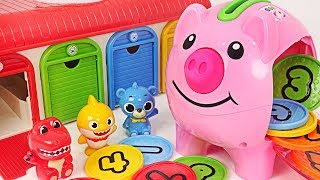 Let's learn Numbers with Fischer-Price Piggy Bank and Baby Shark~! #PinkyPopTOY