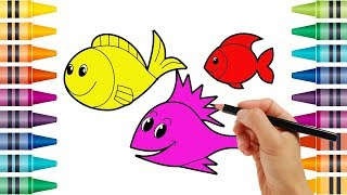Learn Colors for Kids with Fish - Coloring Pages for Children