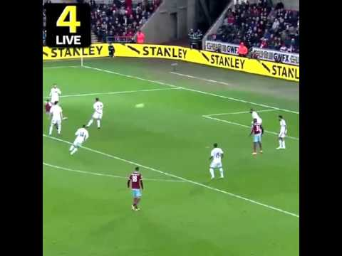 Goal Andy Carroll Swansea 0 West Ham 1
