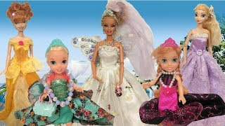 Anna and Elsa Toddlers Barbie's Wedding Shopping Gowns Veil Dress Up Doll Fashion Boutique Chelsea