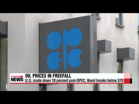 Oil prices in freefall post OPEC, Brent falls below $70   국제유가 추락…WTI, 10.2%↓ 5년