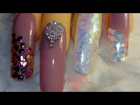 Yayoge builder gel nails with laser sequin glitter and chameleon flakes