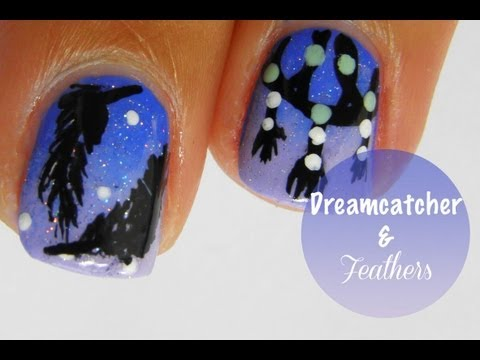 Easy Dreamcatcher and feather nail art tutorial