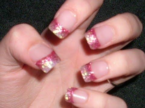 Pink Acrylic White Tip Nails Acrylic Nail Tutorail Pink