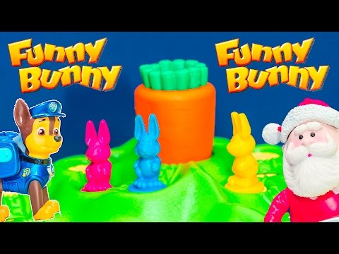 Playing the Funny Bunny Game with Paw Patrol vs Santa Claus Toys