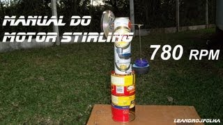 Motor Stirling caseiro e 4 pistões diferentes testados - DIY Stirling Engine 4 different pistons