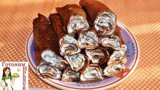 Кофейно-шоколадные блинчики с творожной начинкой