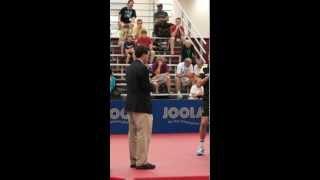 Umpire Michael Meier measures & inpects Filip Szymanski Paddle, Displays Coin Side