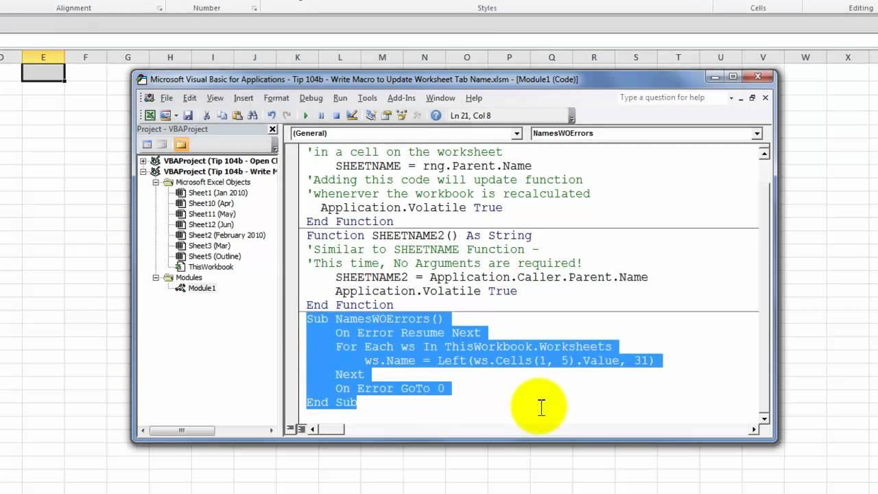 Write a Macro to Update an Excel Worksheet Tab Name   YouTube