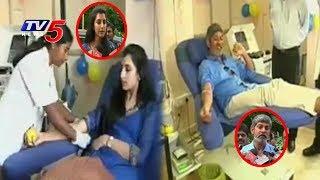 Nara Brahmani and Hero Jagapathi Babu Donates Blood In NTR Trust Bhavan