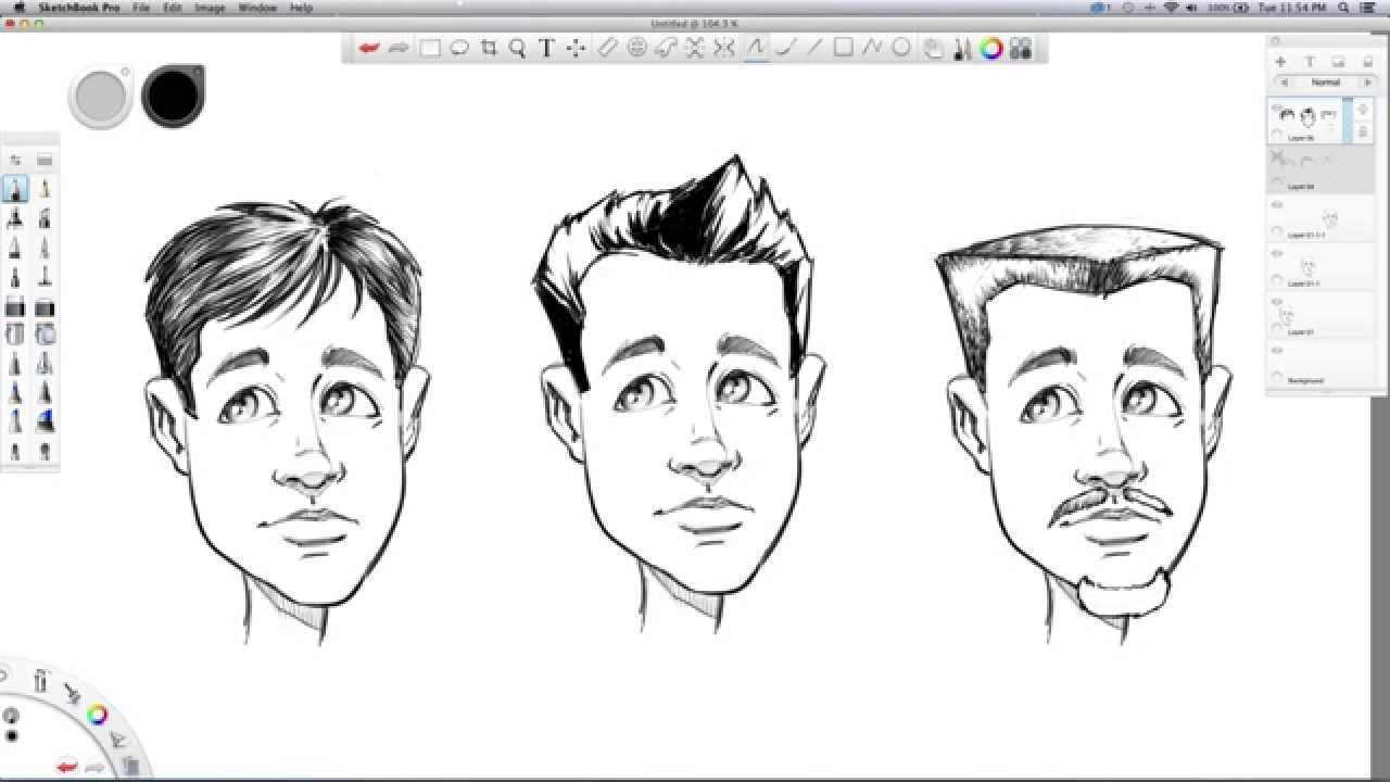 Realistic male hair drawing pictures