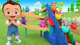 Little Baby Fun Learning Colors for Children with Owl Birds Wooden Slider ToySet 3D Kids Educational