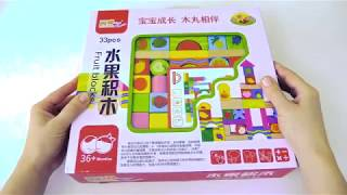 Bright wooden blocks for toddlers with fruits. Building kit. Деревянные кубики