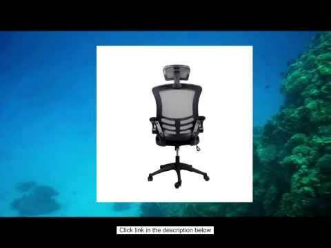 Techni Mobili Executive Mesh High Back Chair with Headrest, Black