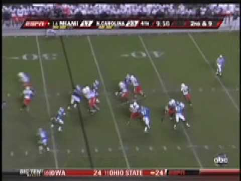Miami vs North Carolina Tar Heels Football 2009 can't be touched Video