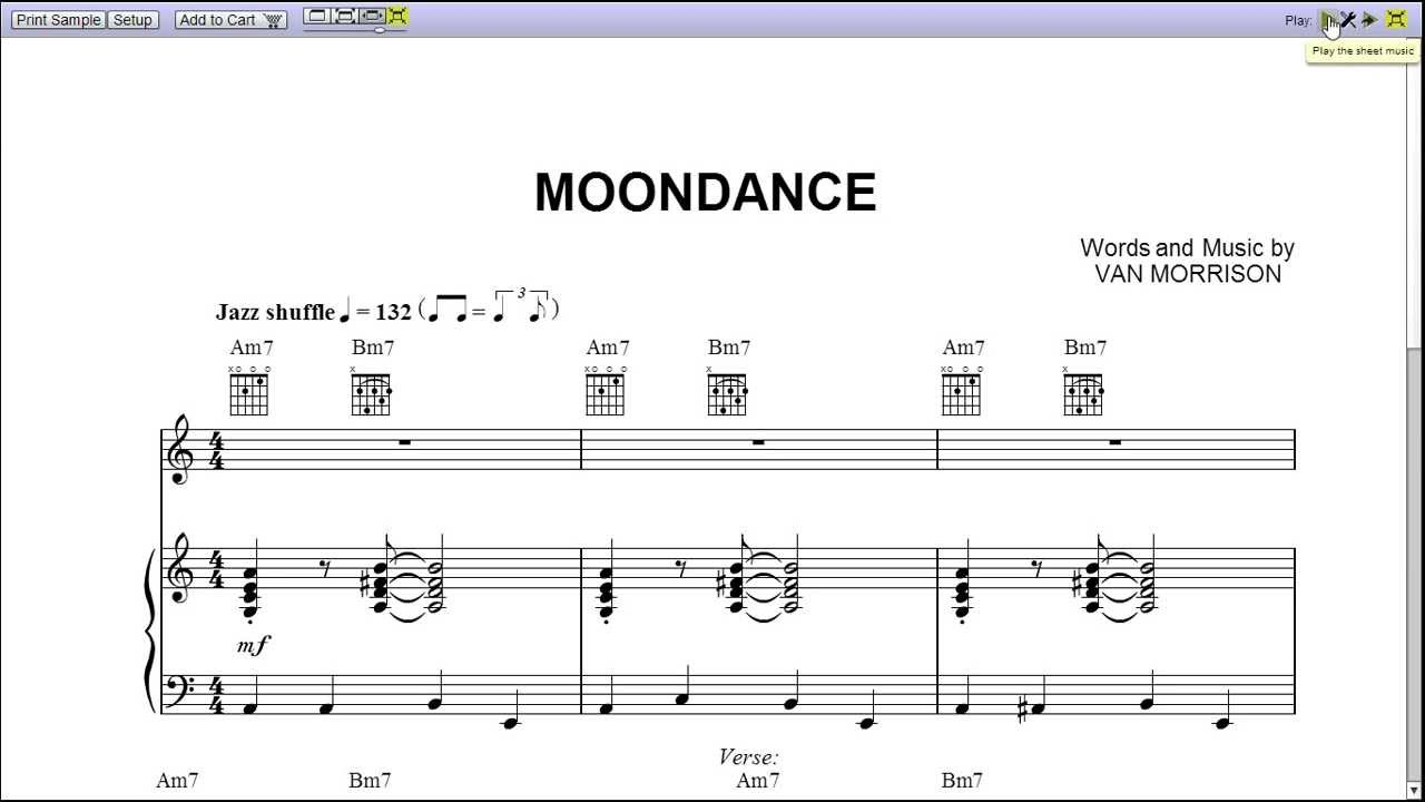 Moondance Van Morrison Sheet Music Moondance by Van Morrison