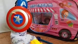 HAFIZ PLAY PRETEND TO BE CAPTAIN AMERICA RESCUE ICE CREAM  BUS