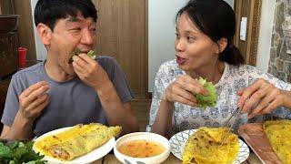 |Tập 167| CHO CHỒNG HÀN QUỐC ĂN THỬ BÁNH XÈO MIỀN TÂY  베트남 반쎄우 먹어보기.VIETNAM CREPE MUKBANG.