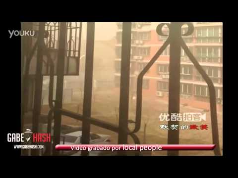 DUST STORM AND STRONG WINDS HIT CHINA TODAY MARCH 9, 2013