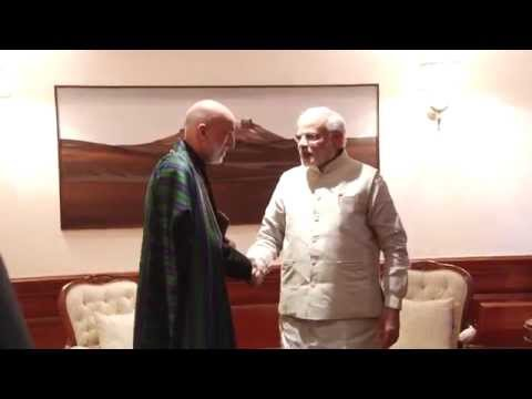 The former President of Afghanistan, Hamid Karzai calls on PM Modi