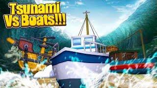 TSUNAMI VS BOATS CHALLENGE - Minecraft Challenge w/TinyTurtle